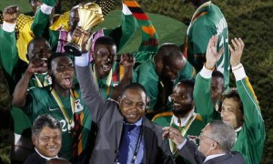 Zambian team celebrates after winning 2012 Nations cup in Gabon