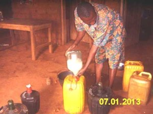 Jugs of palm wine. Regular flow from Batibo village