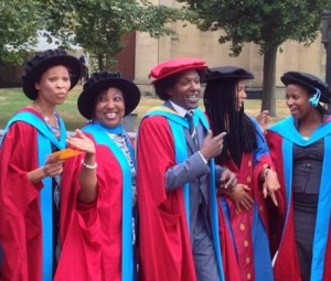 Lemn Sissay with Huddersfield Phd Graduates yesterday