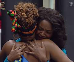 Finalist Dillish and Cleo embrace. Sisterly love.