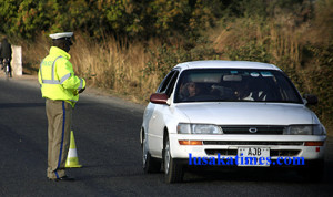 Zambia Road traffic officer. Corruption is rife in the force
