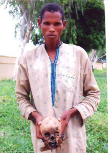 Chief suspect with skull of his son