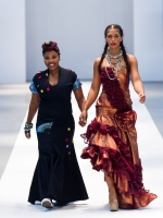 Lady-Peace (left) with a model on the catwalk