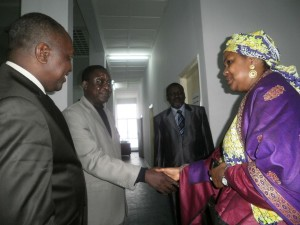 Hadiza is welcomed by the SG