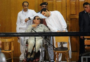 Hosni Mubarak caged. How the Mighty are fallen