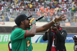 Enow performs inside Omnisport stadium, Yaounde
