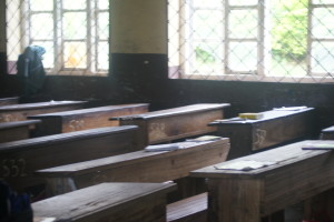 """A Classroom in Sasse,. School still uses """"old time"""" desks"""