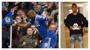 """old"" 33 year Eto'o is still managing to score for chelsea as he demonstrated after a goal"