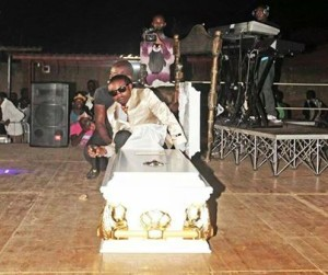 Death Serious. Ruff Kaida pops out of coffin in deadly onstage stunt