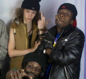 Nicholas Mabika (Pacman), Skrilla (with cigar) and DJ Stretch co-founder of XYZ Crew owned by Slap Dee