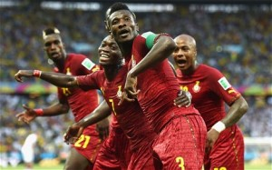 Ghana players celebrate goal against Germany