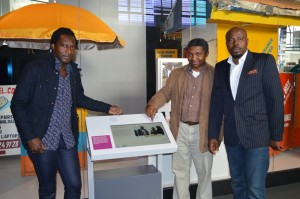 Some Cameroonians at the opening of the information Age Gallery. From left to right: Mbeng Pouka, Dr Kamdem, and Elvis Ewane