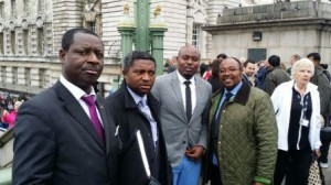 "Cameroonians at the exhibition including Dr Seraphin Kamdem (""nd Left) and Chris Nasah (Right)"